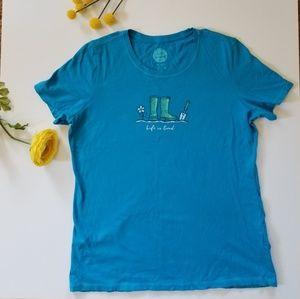 Life is good blue garden tools tshirt